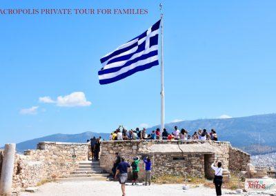 Athens Acropolis Tour Families Belvedere Greek Flag