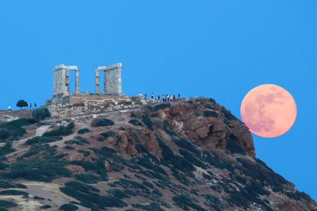 August Full Moon Cape Sounio Temple Poseidon