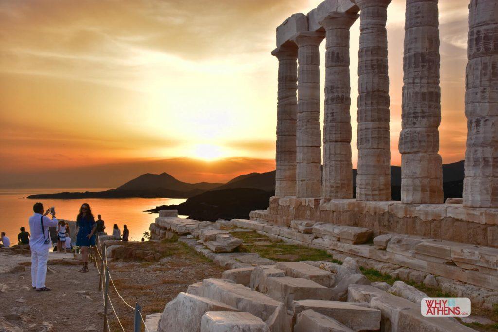 August Full Moon Cape Sounio Sunset Temple Poseidon
