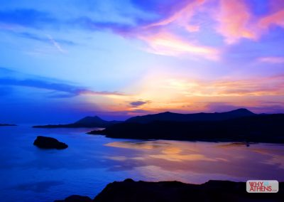 Twilight sky at Cape Sounio